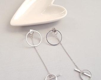 Silver Circle Dangle Ear Jacket Earrings, Circle Dangle Earrings,Circle Drop Earrings,Geo Dangle Earrings,Silver Dangle Earrings,Circle Drop