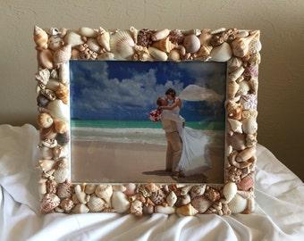 beach wedding frame,8 x 10 seashell picture frame,beach picture frame, seashell frame,coastal decor frame,beach frame,shell picture frame,7