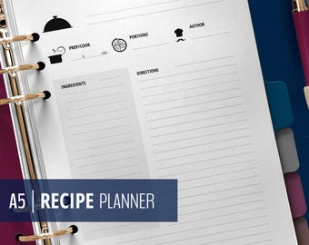A5 Recipe Planner Inserts - Printable Cook Book - Recipe cards and Templates - Recipe Binder - Black & White - Instant Download