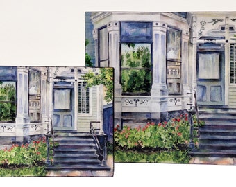Watercolor art print mounted on wood panel — ready to hang — Lincoln Park House
