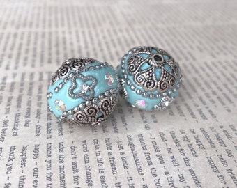 Qty2 20mm Indonesian Beads, Handmade Beads, Light Blue, Sky Blue, Robbins Egg Blue, Silver and Rhinestone Embellishments