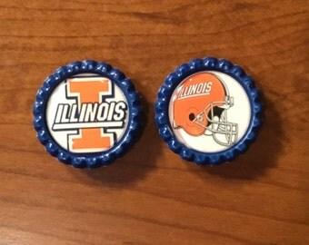Handmade 1 inch BottleCap Magnets, University of Illinois