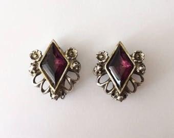 Vintage 1940's Clip On Diamond Shaped Ornate Statement Earrings