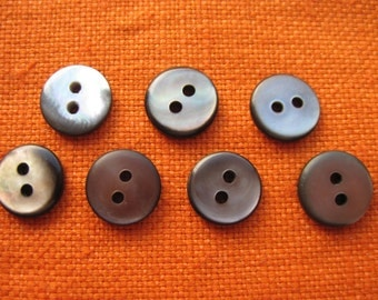 7 vintage mother of Pearl buttons 11 mm grey button Pearl button shirts