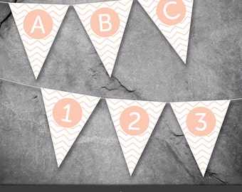 Printable Flags / Chevron Banner / including letters and numbers / Instant Download / A4 & Letter sizes included