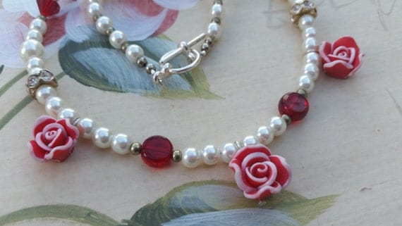Fimo clay rose and pearl vintage style necklace