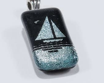 Silver and Black Sailboat Foil and Resin Pendant