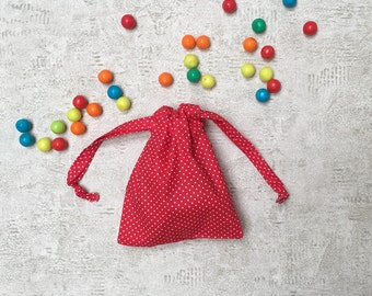 Red fabric smallbags to mini white polka dots - cotton bags