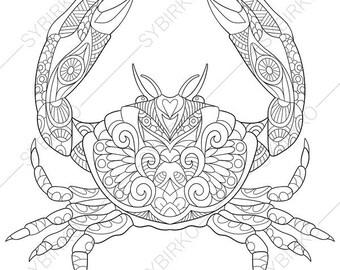 Crab zentangle  Etsy