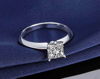 Moissanite Engagement Ring 14k White Gold Solitaire Princess Forever Brilliant Moissanite Ring Modern Design Engagement Ring Diamond Ring