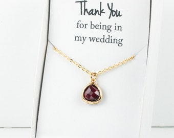 Garnet Gold Necklace, Bridesmaid Garnet Necklace, Red and Gold Necklace, Red Wedding Accessory, Bridesmaid Necklace, Bridesmaid Jewelry