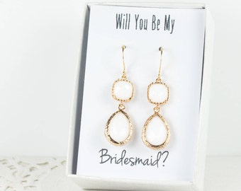 Long White Gold Earrings, Gold White Earrings, Bridesmaid Jewelry, Bridesmaid Earrings, White Wedding Jewelry, White Bridal Accessories