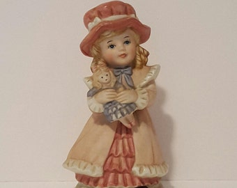 Homco Girl Figurine, Vintage Homco #1419 Victorian Girl with Doll Figurine, Home Interiors and Gifts Collectible Homco Ceramic Figurines