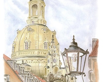 Look at the Dresdner Frauenkirche - color - original signed art print