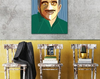 Tribute to Gabriel García Márquez  Literature, icon Art, Personalized Gift, Name, City, Gift For Women, For Men, For Grandma, For Grandpa,