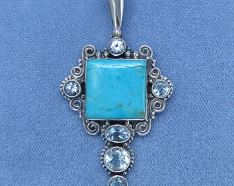 Arizona Sleeping Beauty Turquoise & Blue Topaz Pendant - Sterling Silver - Filigree - P211708 - Free Shipping