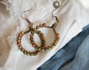 Moss and Clay Wire Wrapped Hoop Earrings