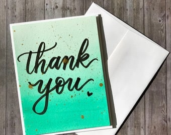 Handmade Watercolor Thank you Card | Mint Green Ombre