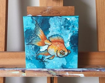 Goldie Fish - Original Mini Acrylic Painting on Canvas