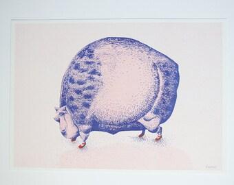 Illustration print A4 pig - poster print riso