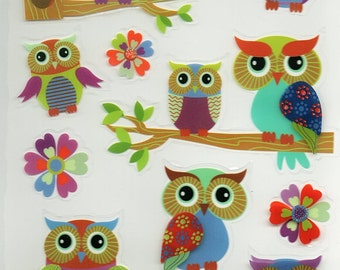 Owl 3D Glitter Stickers Forever In Time Scrapbook Embellishments Cardmaking Crafts