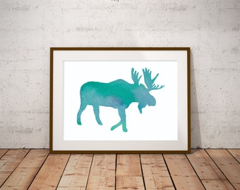 Watercolor Moose / Woodland, Nature Decor / Digital Art Print / Nursery Decor / Rustic Cabin Art / Included: 18x24, 11x14, 8x10, and 5x7
