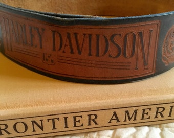 Vintage Distressed Harley Davidson Tooled Leather Belt