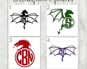 Dragon Monogram Decal, Dragon Decal, Monogram Decal, Vinyl Decal