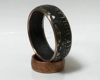 Black Patina Kennedy Half Dollar Coin Ring