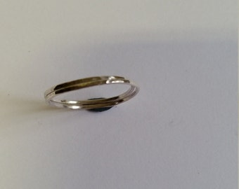 Two sterling silver stacking rings 1.2 mm, hammered