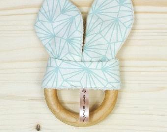 Teether wooden geometric Mint