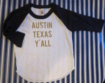 Austin Texas Y'all Baseball tee - CHOOSE your city