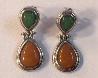 Vintage Sterling Earrings with Green & Brown Gemstones