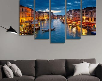 LARGE XL Grand Canal at night, Venice, Italy Canvas Print Gondolas and Gondolier Canvas Wall Art Print Home Decoration - Stretched