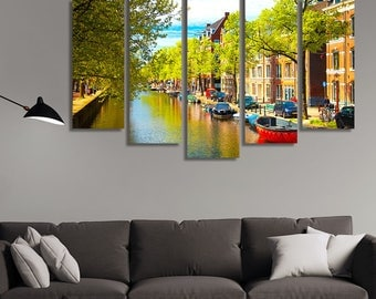 LARGE XL Traditional Old Buildings in Amsterdam, the Netherlands Canvas Print Canal River Boats Wall Art Print Home Decoration - Stretched