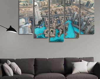 LARGE XL Dubai, UAE Canvas Print View on Dubai from Burj Khalifa Canvas Panoramic View Canvas Wall Art Print Home Decoration - Stretched