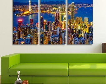 Large Canvas Print, Large Canvas Art, Hong Kong Print, Hong Kong Art, Home Décor Wall Art, Home Décor Wall, Large Canvas Art, City Wall Art