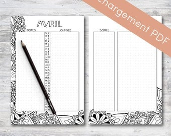 Monthly calendar Printable, April, Planner and Bullet Journal | Printable PDF