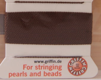 Brown Size 8 Griffin Natural Silk Bead Cord - STR 163