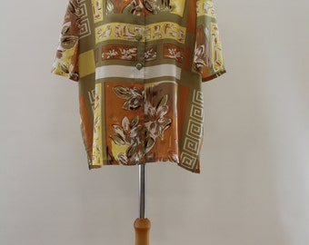 Flower & Spiral Patterned Short Sleeve Shirt (Yellow/Olive/Brown/Orange/White)