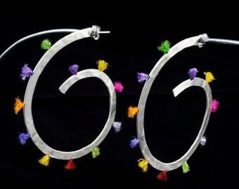 Color Silver Spiral Hoops, hoop earrings, sterling silver, hammered silver, handmade, color strings, gift for her