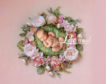 Newborn digital background  digital backdrop Newborn Backdrop prop baby girl flowers nest wreath / Digital Photography 3 JPG / 160