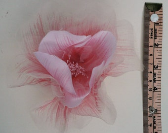 Large Open Shell Pink Silk Organza Rose on Pin // Millinery Hat Flowers // Floral Corsage // Wedding Boutonniere // Artificial Flowers