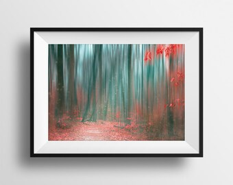"""Magical Forest Print, Photographic & Digital Art Print, Forest Wall Art, Surreal Woods, Red and Teal, Dreamy Landscape 
