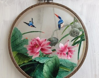 Double side embroidered painting- Lotus and Cat