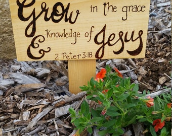 Wood Burned Flower Bed Sign