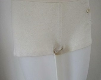 Lo-Rise  undershorts with taped waist, hemp+organic cotton - no dye, elastic or synthetic
