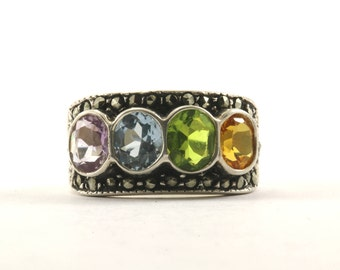 Vintage Multicolor Crystal Marcasite Ring 925 Sterling Silver RG 1923-E