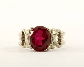 Vintage Oval Cut Red Garnet Crystal Ring 925 Sterling Silver RG 1737-E