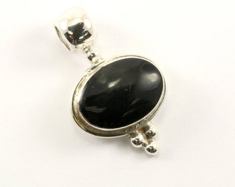 Vintage Mexico Oval Onyx Pendant 925 Sterling Silver PD 259-E